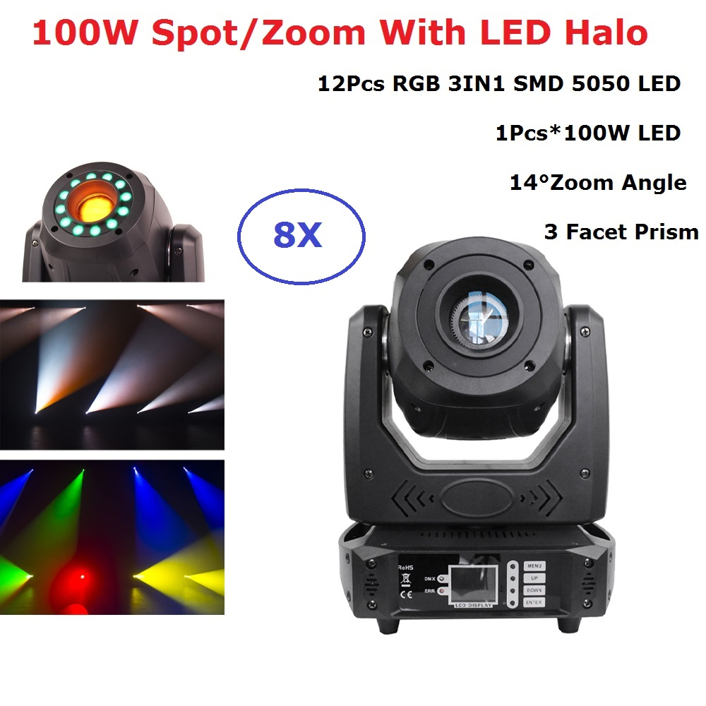 LED 100W Beam Spot Zoom Light DMX512 Moving Head Light Professional DJ Disco Bar Light Party Show Stage Light LED Stage Machine