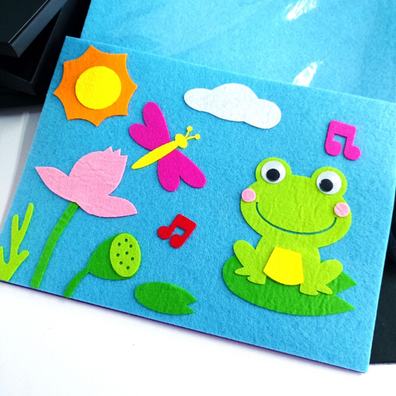 Kids Cartoon DIY Sticker Toys Felt Stickers Decoration Toys Educational Gifts Swan Frog Duck 1 Set Children Toys