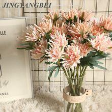 Pinza de cangrejo Artificial con tacto Real de 2 cabezas, crisantemo, decoración de flor falsa para el hogar, Material de pared de flores, para boda