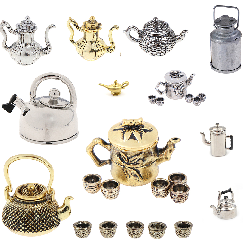 Hot Sale Tea Set Teapot Cup Kettle 1: 12 Dollhouse Furniture Miniature Dining Ware Kitchen DIY Toy Baby Christmas Gift
