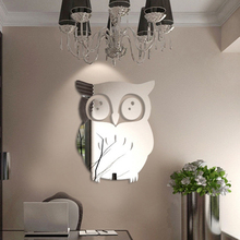 Art-Decal Wall-Sticker Owl-Mirror Home-Decoration Removable Vinyl Acrylic 3d Living-Room