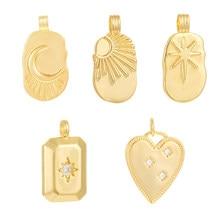 Encantos de estrellas para hacer joyería suministros a granel encanto sol Luna corazón Diy collar pendiente accesorios encantos cobre CZ colgante de oro