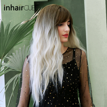цена на Inhaircube Ombre White Cosplay Wig  Dark Brown Root Long Curly Synthetic Wigs for Women Natural Hairline With Bangs Midpart
