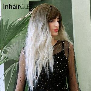 Inhaircube Ombre biały peruka do Cosplay ciemny brąz korzeń długie peruki syntetyczne z kręconymi włosami dla kobiet naturalną linią włosów z grzywką Midpart