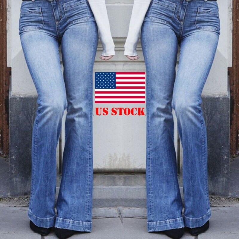 Plus Size Women Casual Retro Long Length Pocket High Waist Stretchy Denim Flare Jeans Slim Jeggings Bootcut Pants Trousers