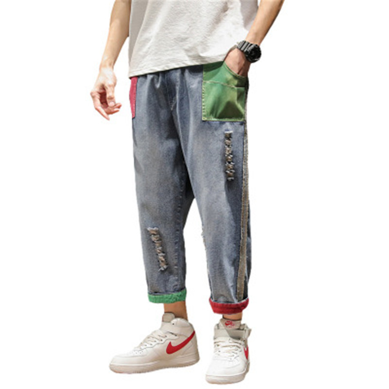 Colorblock Hip Hop Streetwear Harem Jeans Pants Men Loose Joggers Denim Casual Sweatpants Korea Ankle Length Trousers