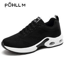 PUHLLM Casual Breathable Flying Woven Sports Shoes Running Student Mesh Lace Up Women Sneakers  casual running shoesB61