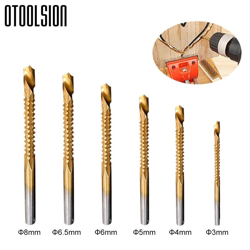 6pcs Titanium Coated HSS Drill Bits Cutting Slot 3/4/5/6/6.5/8mm Sawtooth Bit Woodworking Drill Bit Used For Metal Plastic