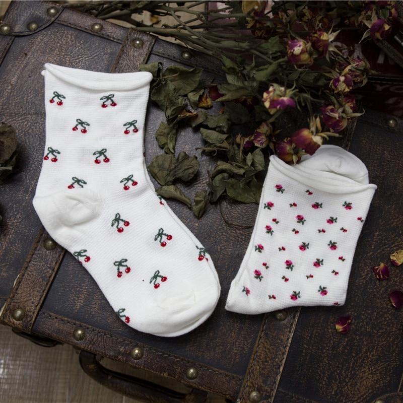 Women's Socks With Tube Socks Cherry Fruit Curling Maternity Socks Japanese Basic Cotton Socks Wholesale