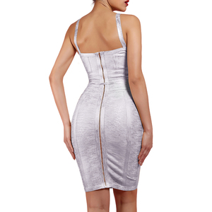Image 3 - Ocstrade 새로운 2019 가을 겨울 여성 넥타이 허리 메탈릭 섹시한 붕대 드레스 실버 붕대 드레스 Bodycon 클럽 파티 드레스