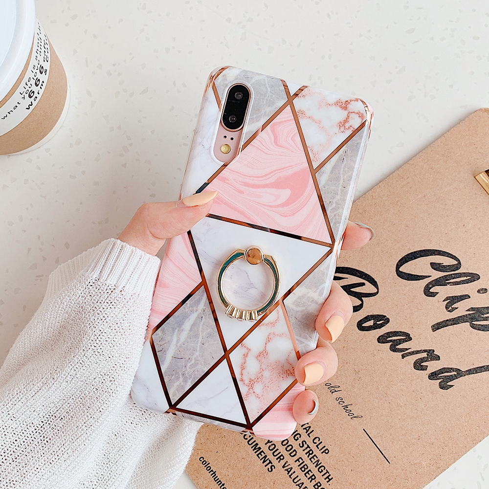 SUYACS Electroplate Geometric Marble Phone Case For Huawei P20 P30 Pro Mate 30 20 Lite Ring Kickstand Soft IMD Phone Back Cover