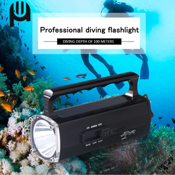 цена на Professional Diving Flashlight 100m Underwater Led Flashlight Diving Torch Xm L2 Lamp Charg Lanterna Diving Light Portable Lamp