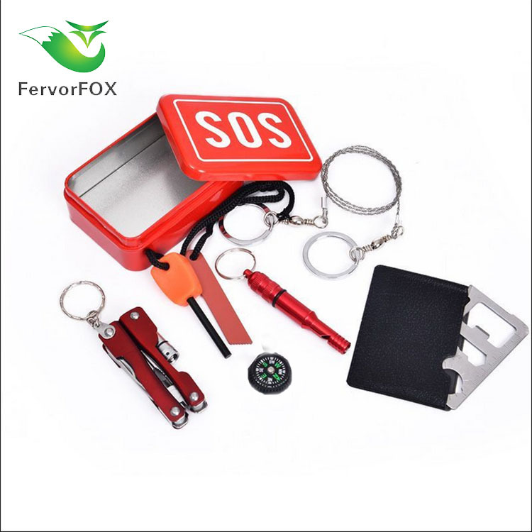 SOS Outdoor Survival Equipment Set First Aid Tool Iron Box Car Mounted Emergency Supplies Self-Help First Aid Kit