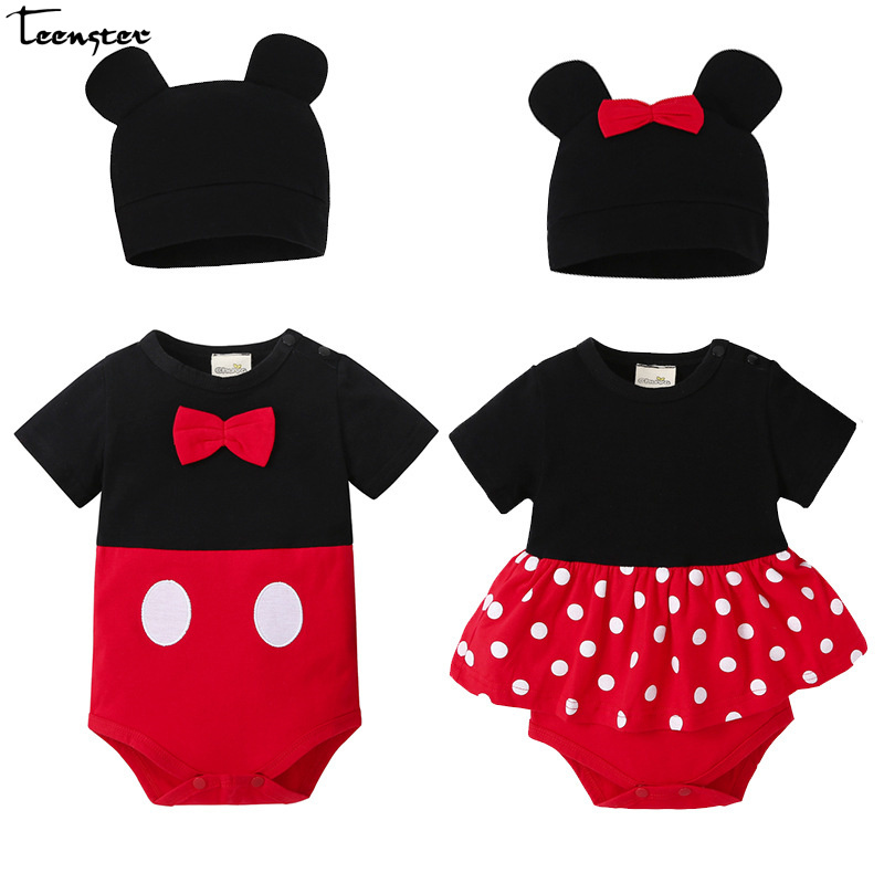 Teenster Baby Bodysuit Twins Mickey Style Infant Boy Costume Girls Clothes Whith Hat 2019 Cute Short Sleeve Bodysuits Bowknot