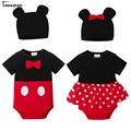Teenster bebê bodysuit gêmeos mickey estilo infantil menino traje meninas chapéu 2019 bonito manga curta bodysuits bowknot
