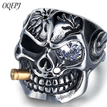 OQEPJ Gothic Skull Shiny Zircon Rings 316L Stainless Steel Prevent allergy Men Ring Unique Exquisite Jewelry Personalized Gifts