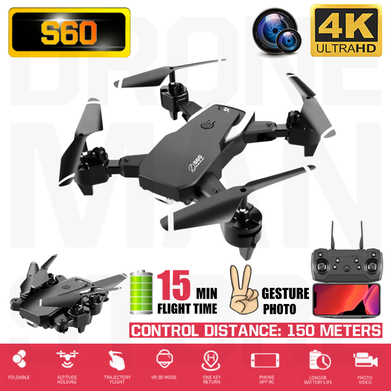 S60 Mini Drone 4K HD Wide Angle Camera 1080P WiFi FPV Drone Dual Camera Quadcopter Height Keep Drone Camera Dron Helicopter Toy image