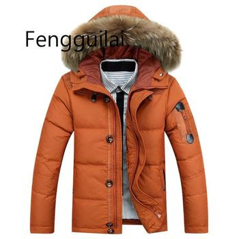 FENGGUILAI Warm cotton Coats Men Winter Jackets Men  White Duck  Coat Parka Jacket Coats Fur Hooded Parkas Mans Brand Clothing