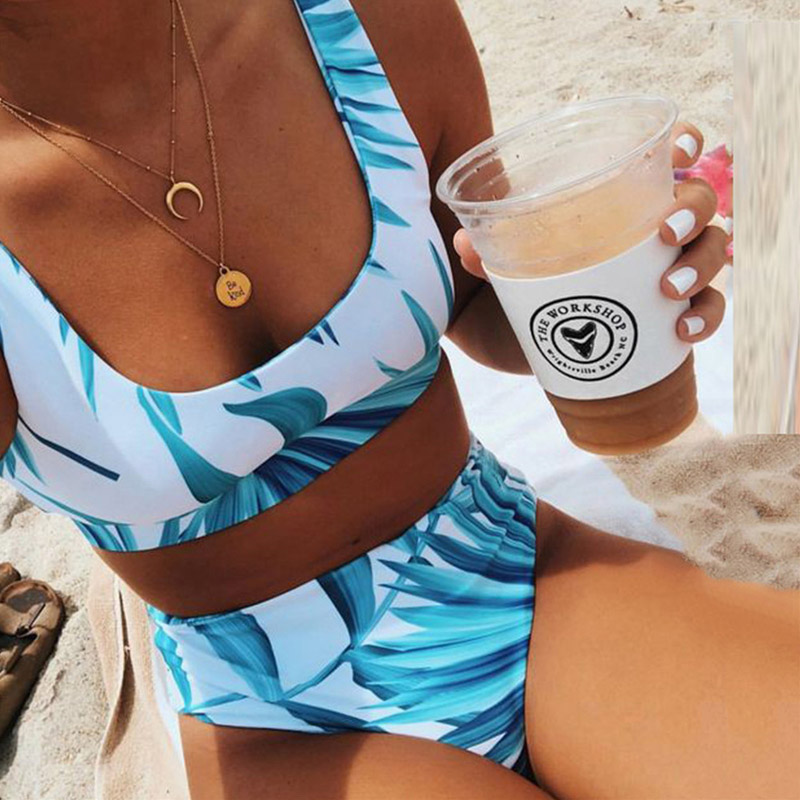 Sexy High Waist Bikini White Floral Leaf Bikini Set 2020 Girl Swimwear Women Sport Swimsuit Female Swim Bathing Suit Beachwear