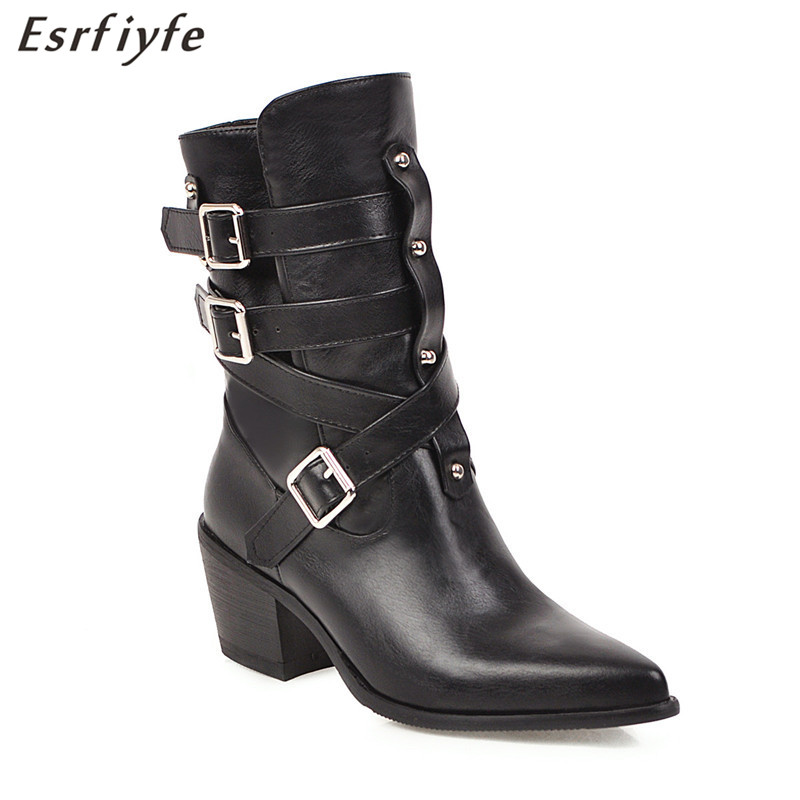 ESRFIYFE 2020 New Cowboy Boots for Women Pointed Toe Western Boots PU Leather Ankle Women Boots Thick Heels Autumn Winter Botas