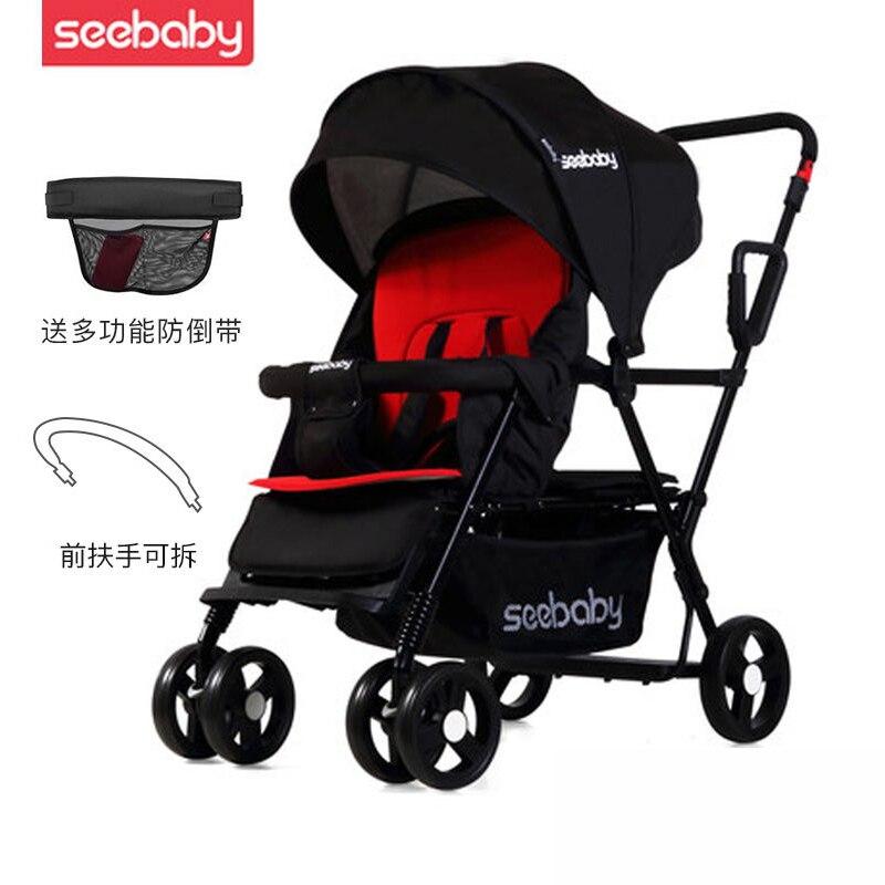 Seebaby 2019 nouvelles poussettes bébé jumelles légères peuvent s'asseoir inclinable enfant poussette Double siège chariot bébé chariot 0-7Y