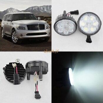 July King 18W 6LEDs H11 LED Fog Lamp Assembly Case for Infiniti QX56 2011-2015, 6500K 1260LM LED Daytime Running Lights