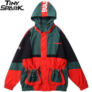 Image 1 - 2019 Streetwear Hip Hop Windbreaker Jacket Retro Color Block Mens Hooded Jacket Coat Pocket Harajuku Zipper Track Jacket Outwear