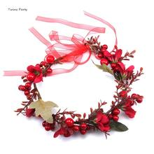 Twins Party Christmas Halo Floral Crown Garland Headpiece Wedding Festival Flower Wreath Headband Wreaths