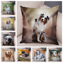 Cute Australian Shepherd Dog Pillow Case Covers Decor Pet Animal Cushion Cover for Sofa Home Children Room Soft Plush Pillowcase