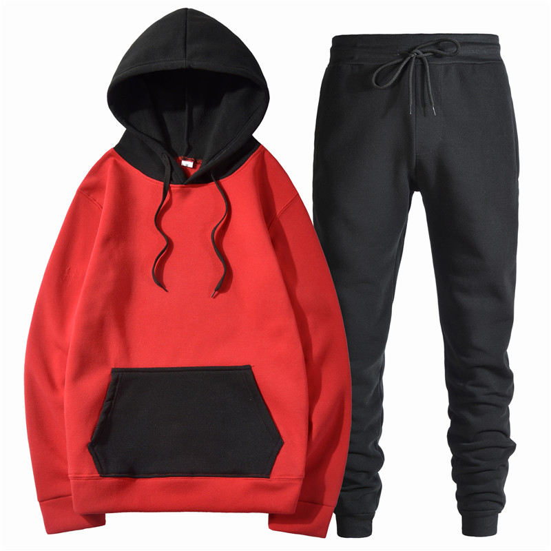 Color Matching Red+Black Hoodies Men Color Long Sleeves Hoody + Pants Sweatshirts Mens Streetwear Hooded For Men Outfit S-3XL