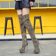 Women fur boots High Heel Over the Knee Boots sexy pumps Leopard Boot Warm Winter shoes thigh high boots platform shoes LJA64 jookrrix 2017 new autumn winter over the knee lady platform boot zipper british style shoe women cross tied boot black warm boot