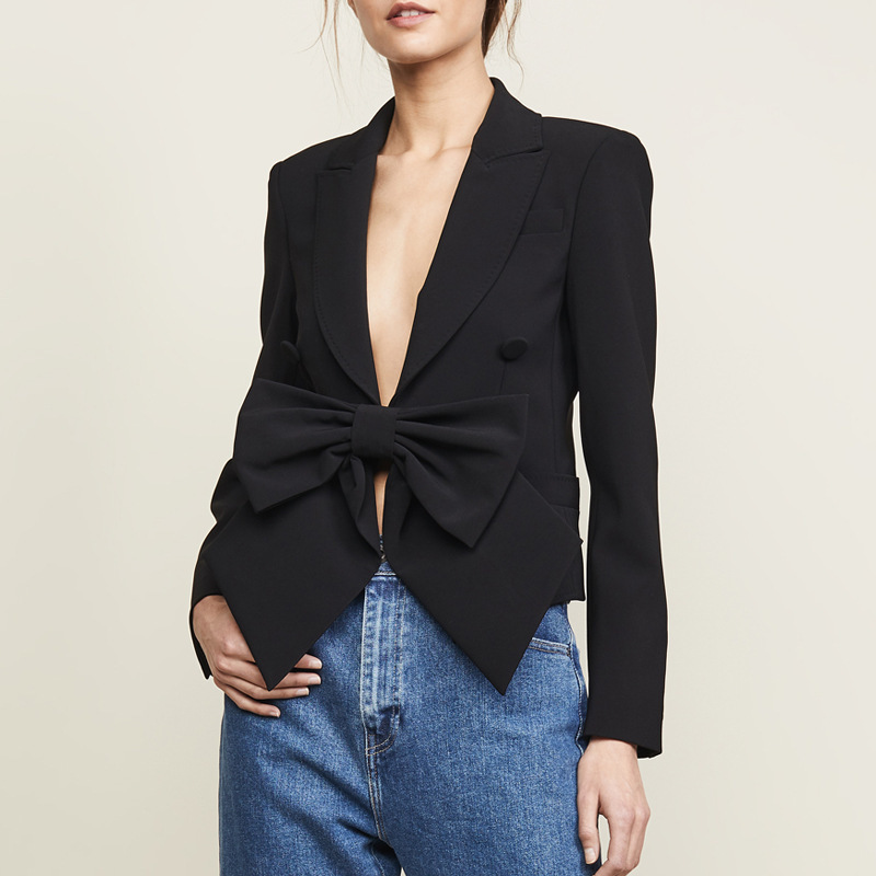 Fashion Spring Autumn Women Blazers and Jackets Deep V Neck Big Bow High Street Work Office Lady Suit Black Slim Fit Coat Female