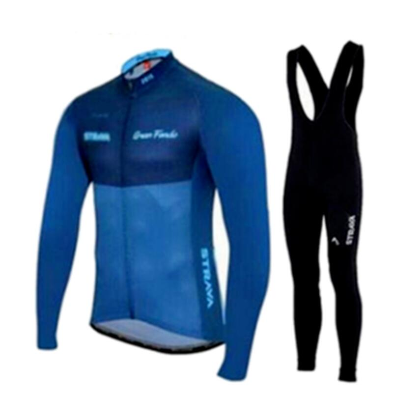 strava Cycling Jerseys Ropa Maillot Ciclismo long sleeve autumn and winter Cycling Jersey clothing Breathabl Bib Pants set