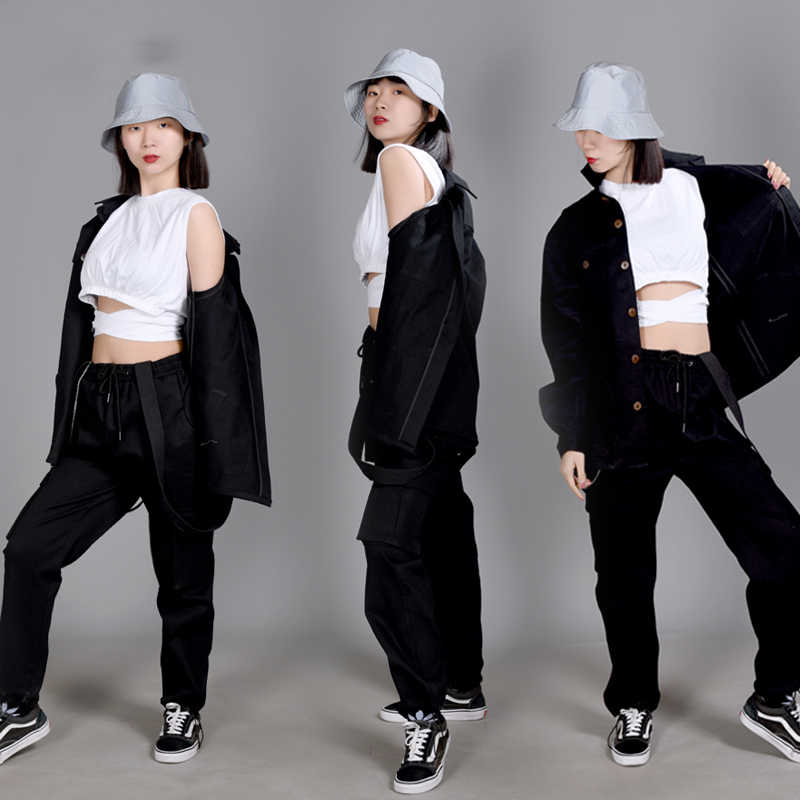 Hip Hop Kostuums Volwassenen Street Dance Kleding Amerikaanse Overalls Shirt Jasje Broek Jazz Prestaties Slijtage Stadium Outfit DN5385