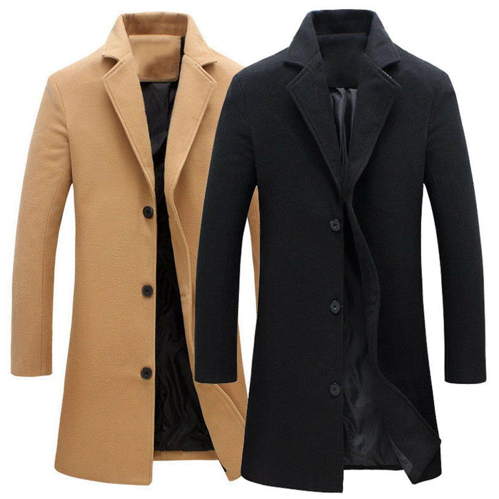 Men Wool Blends Coats Winter Long Coat Blends Solid Color Coat Men Single-breasted Windbreaker Wools Plus Size Casual Mens Coat