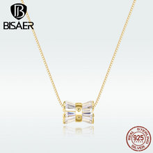 BISAER Necklace New 100% 925 Sterling Silver Geometric Cubic Zirconia Necklace Pendant For Women Sterling Silver Jewelry HVN094 bff infinity necklace 925 sterling silver aaa cubic zirconia cyrstal necklace always best friend sister forever gift p6093b