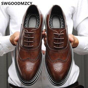 Brogues-zapatos De estilo Oxford para Hombre, calzado Formal, Italiano