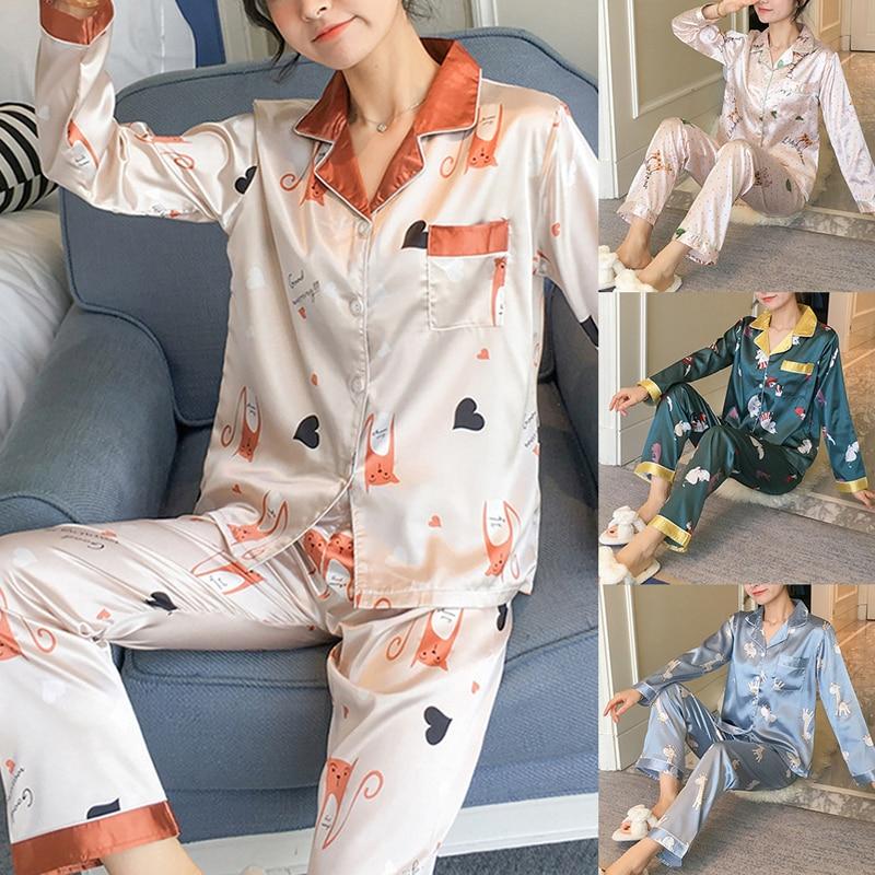 Summer Ladies Pajamas Set Print Long Sleeve Top Trousers Pajamas Fashion Loose Large Size Two-piece Homewear Korea Pajamas Silk