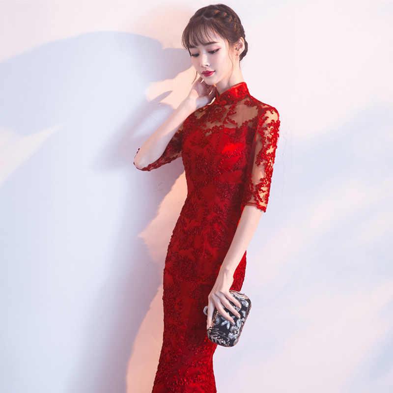 2020 neue Spitze Chinesische Hochzeit Kleid Frauen Dünne Chongsam Weiblichen Chinesischen Traditionellen Kleid Lange/Kurze Hülse Partei Qipao