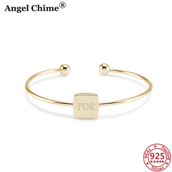 AC 925 Sterling Silver Personalized Monogram Bangle Square Cuff Bracelet Bangle For Women Customize Jewelry Valentine's Day Gift square faux gemstone double layered cuff bracelet