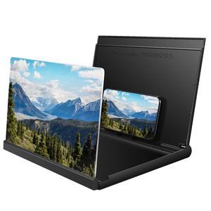 Image 2 - 3D אוניברסלי מסך זכוכית מגדלת חכם טלפון נייד מגבר עם מתקפל מחזיק מעמד עבור צפייה בסרטים וידאו (שחור)