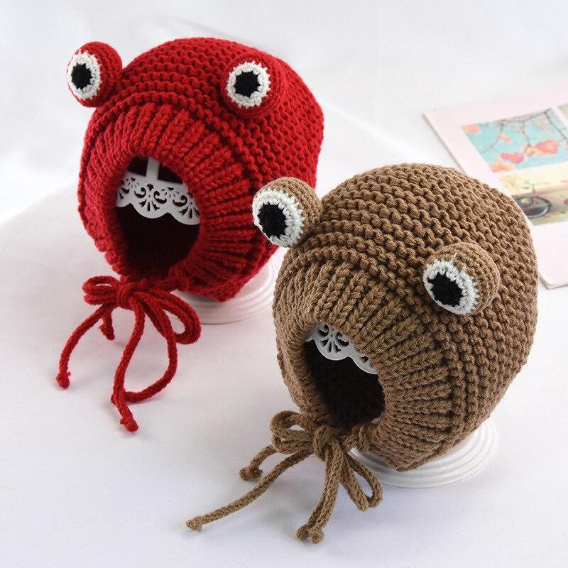2019 nuevos sombreros para niños Otoño e Invierno niño y niña bebé hecho a mano dibujos animados Rana orejeras bebé cálido lana tejido sombrero niños sombrero