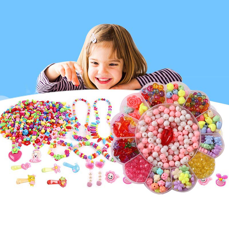 DIY Acrylic Beads Kit Children Kid Bracelet Necklace Jewelry Making Girl Toy Mixed Bead Set With Box Hot Sales