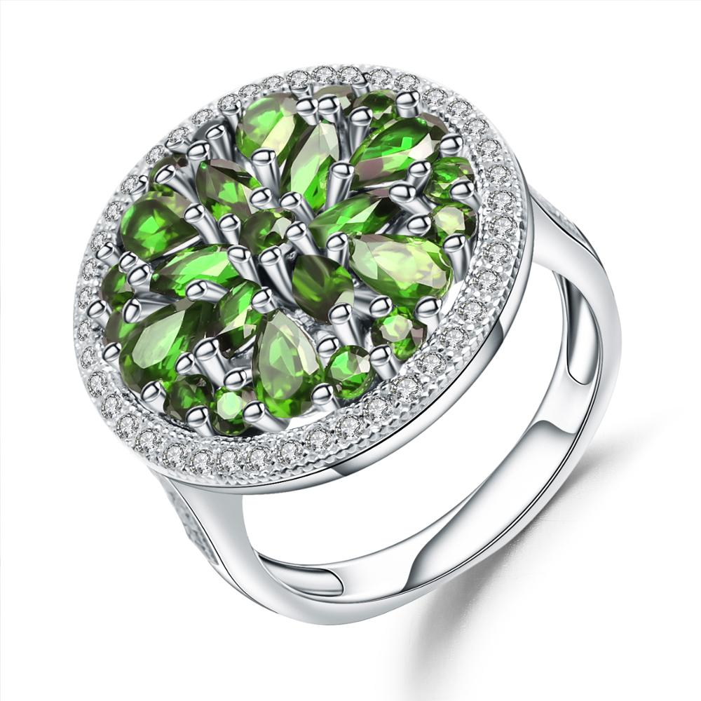 GEM'S BALLET 3.50Ct Natural Chrome Diopside Gemstone Ring Pure 925 Sterling Silver Vintage Cocktail Rings For Women Fine Jewelry