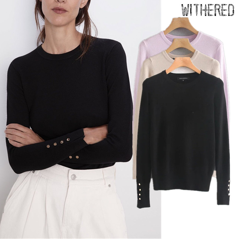 Withered Autumn Winter Sweaters Women England Simple Solid Single Breasted In Sleeve Pull Femme Sweaters Women Pullovers Tops