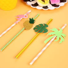 Drinking Straw Coconut Tree 3D Sucker Disposable Straw Flamingo Pineapple Palm Leaf Decorate Tropic Wedding Cocktail Fruit(China)