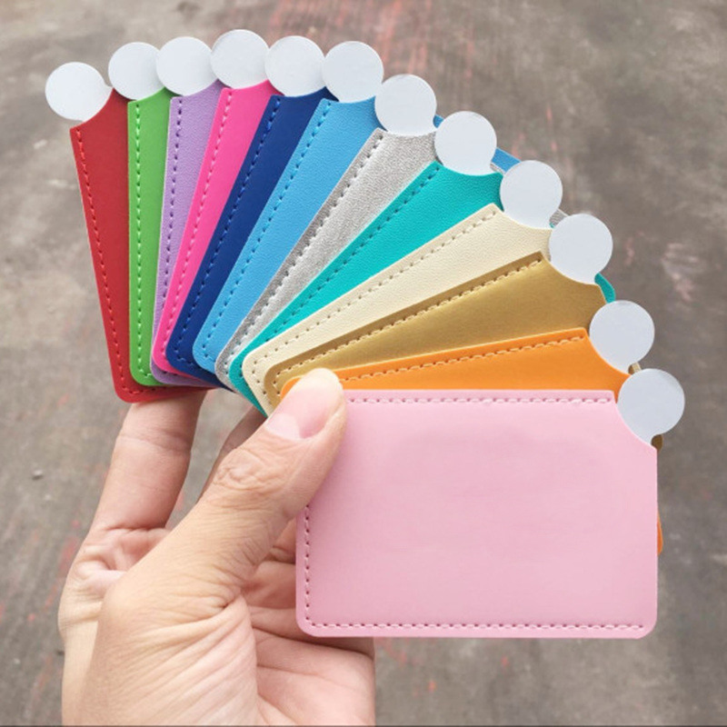 Wedding Stainless Steel Unbreakable Makeup Mirror Shatter-Proof Portable PU Leather Sleeve Pocket Card Mirror Cosmetic Essential
