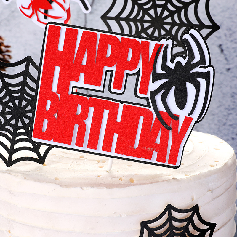 Cartoon Spider Web Cupcake Topper INS New Happy Birthday Cake Topper For Baby Shower Boys Kids Birthday Party Cake Decorations