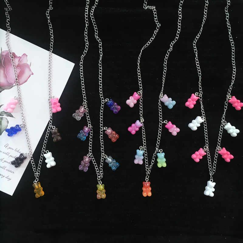 7 renk gökkuşağı gurur sevimli jöle sakızlı kolye kadınlar için kızlar serin Punk Hip Hop reçine kolye aksesuarları