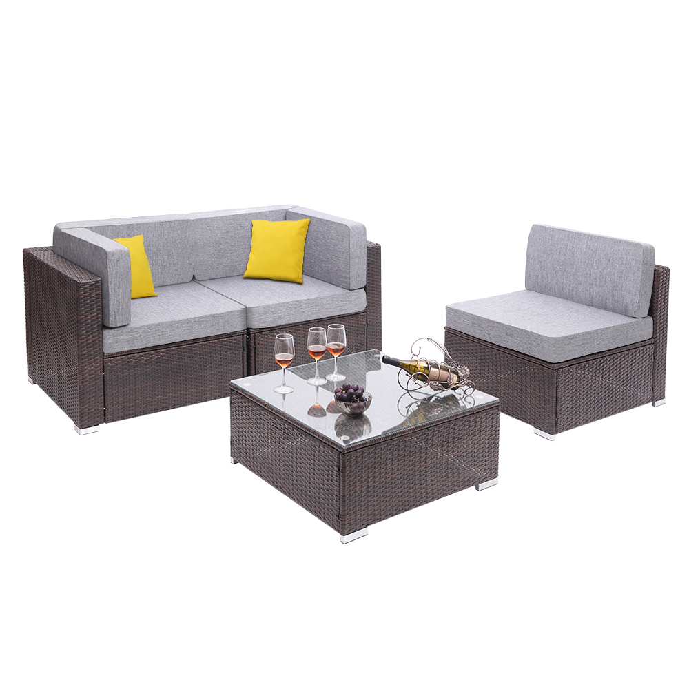 【US Warehouse】4 Pieces Patio PE Wicker Rattan Corner Sofa Set(Outdoor Rattan Sofa)